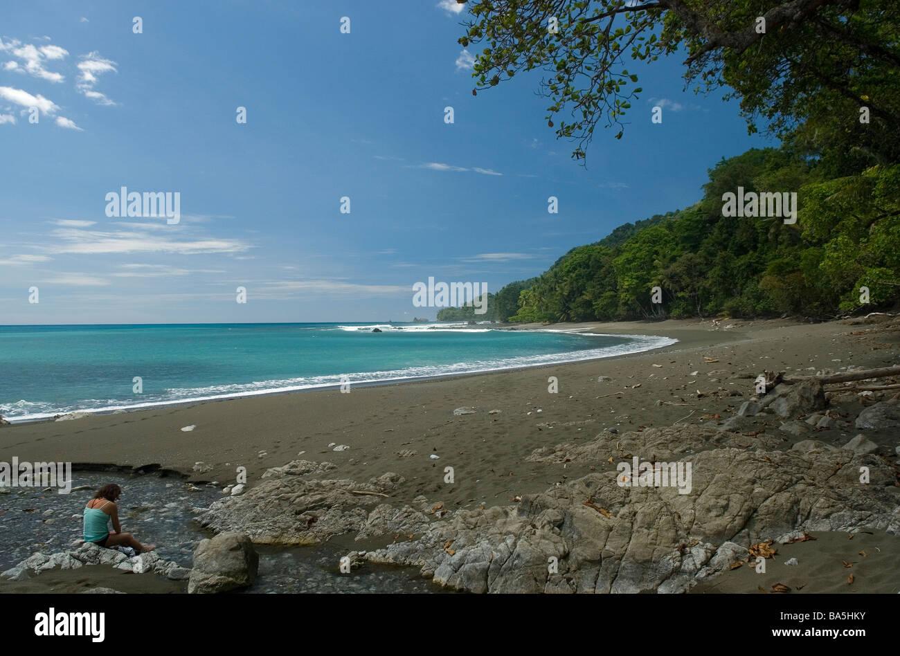 A pristine beach at Corcovado National Park - Stock Image
