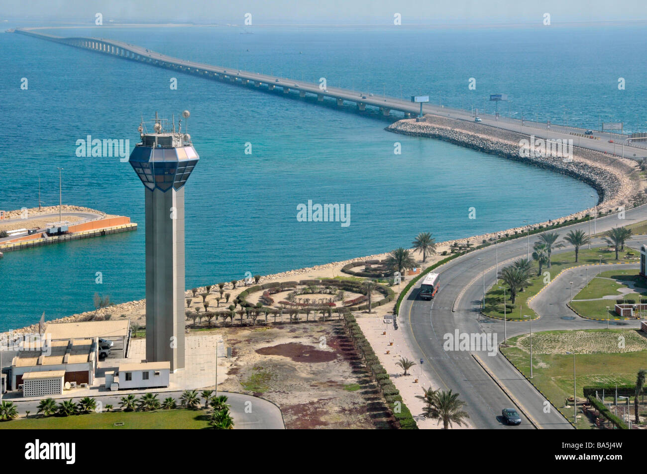 King Fahd Causeway linking Bahrain and Saudi Arabia in Persian Gulf view towards Bahrain from approx 'mid point' - Stock Image