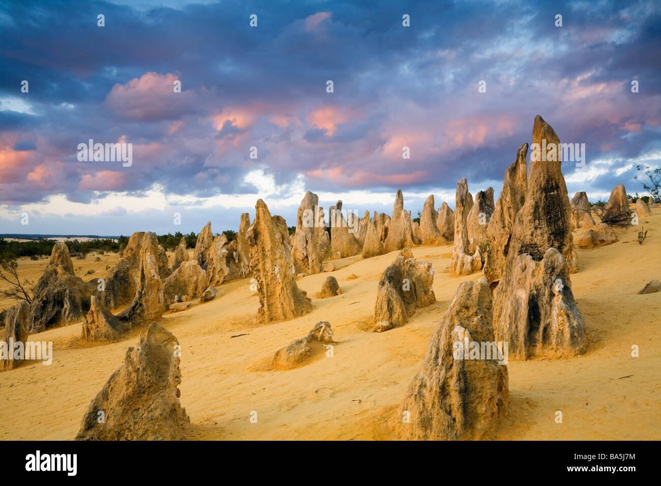 Sunset in the Pinnacles Desert.  Nambung National Park, Cervantes, Western Australia, AUSTRALIA - Stock Image