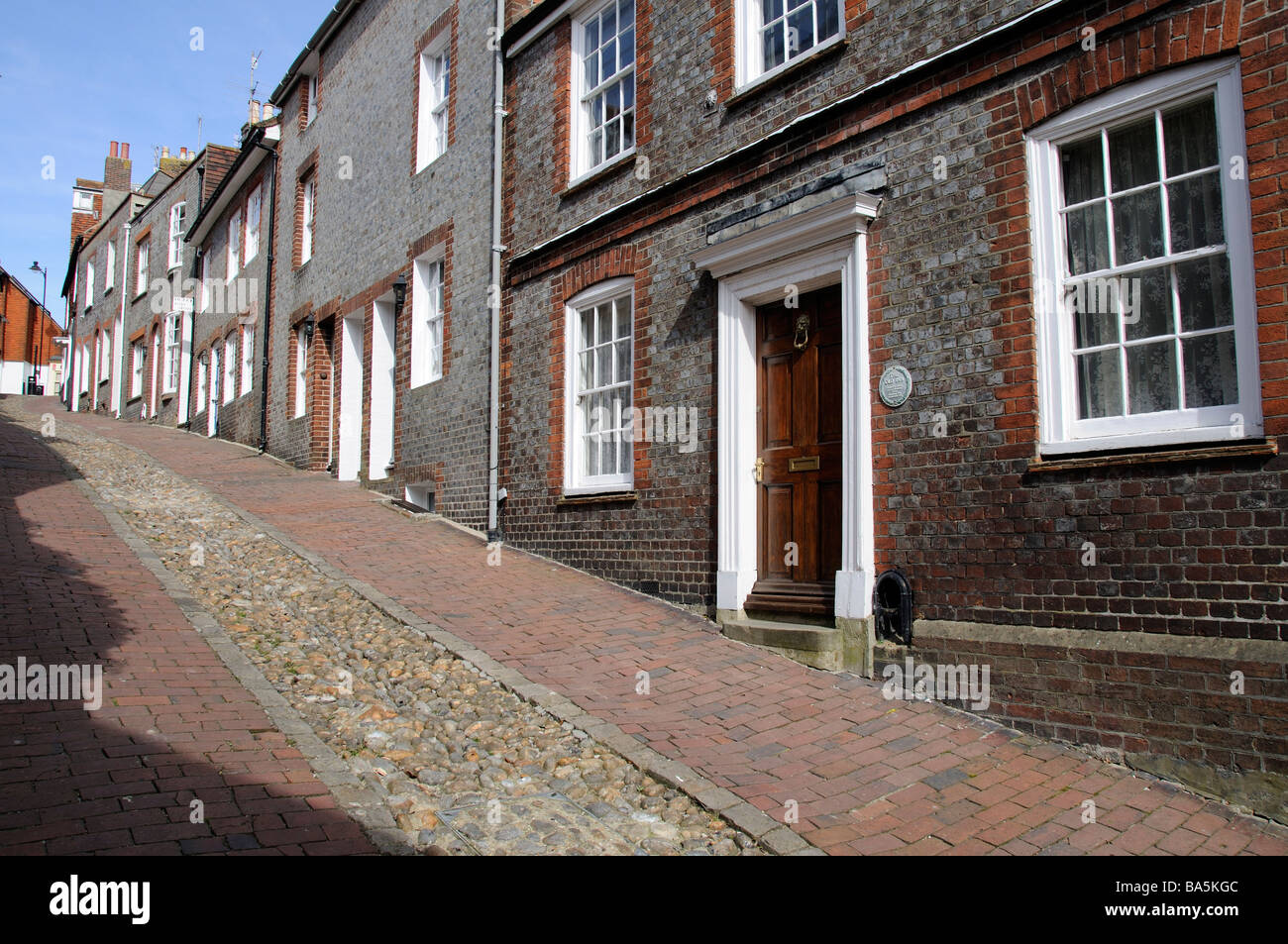 Buildings on the historic Keere Street in Lewes town centre West Sussex England UK Stock Photo