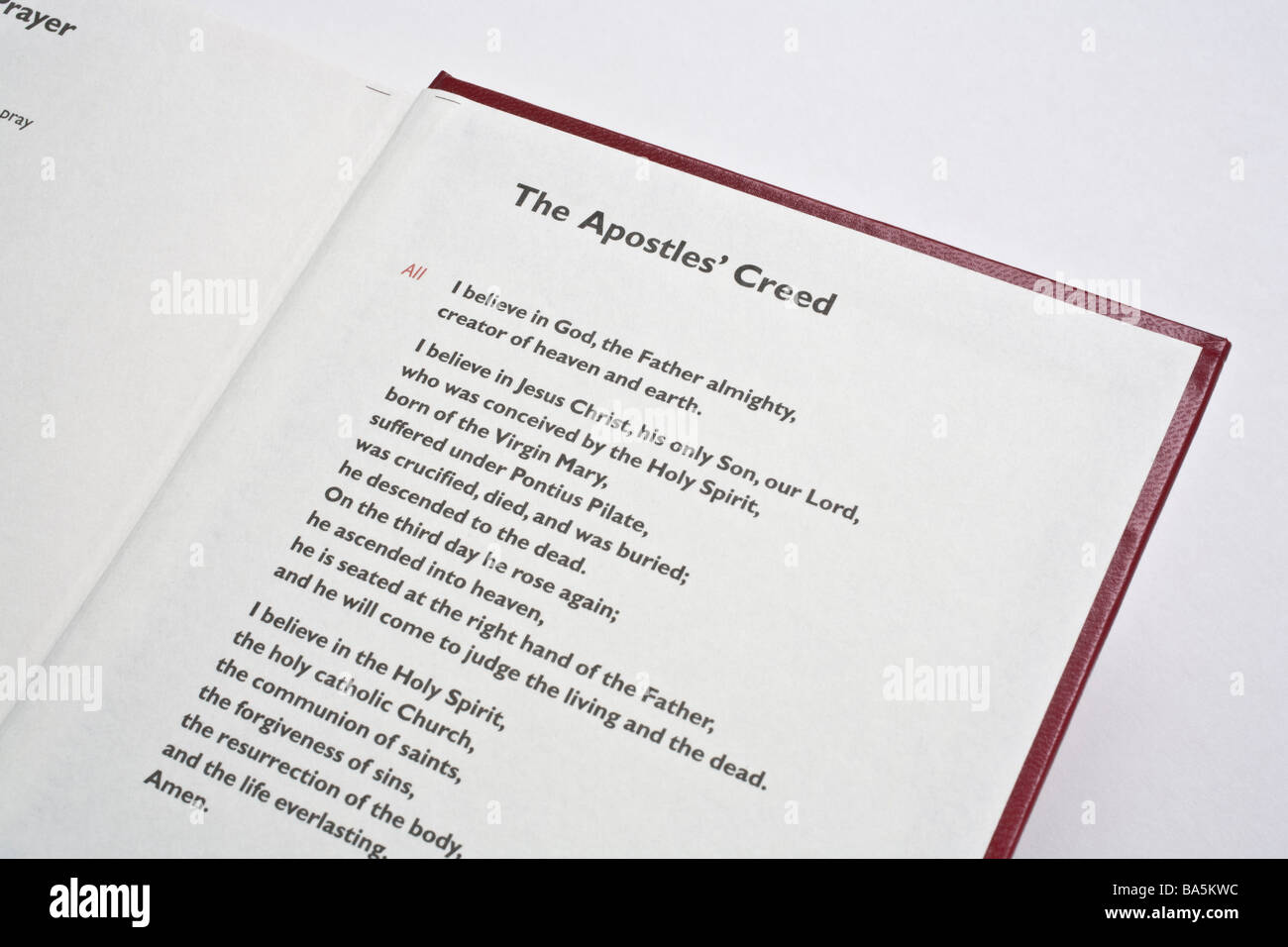 Apostles Creed Christian prayer printed in a book of prayers - Stock Image