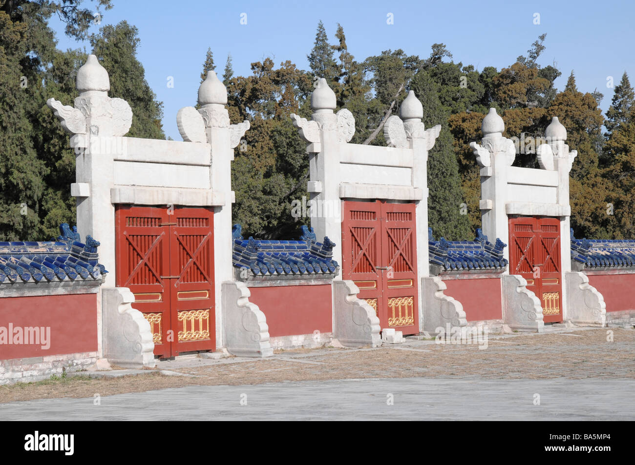 Gates at The Temple of Heaven (or Altar of Heaven),one of Beijing's most popular tourist attractions. Stock Photo