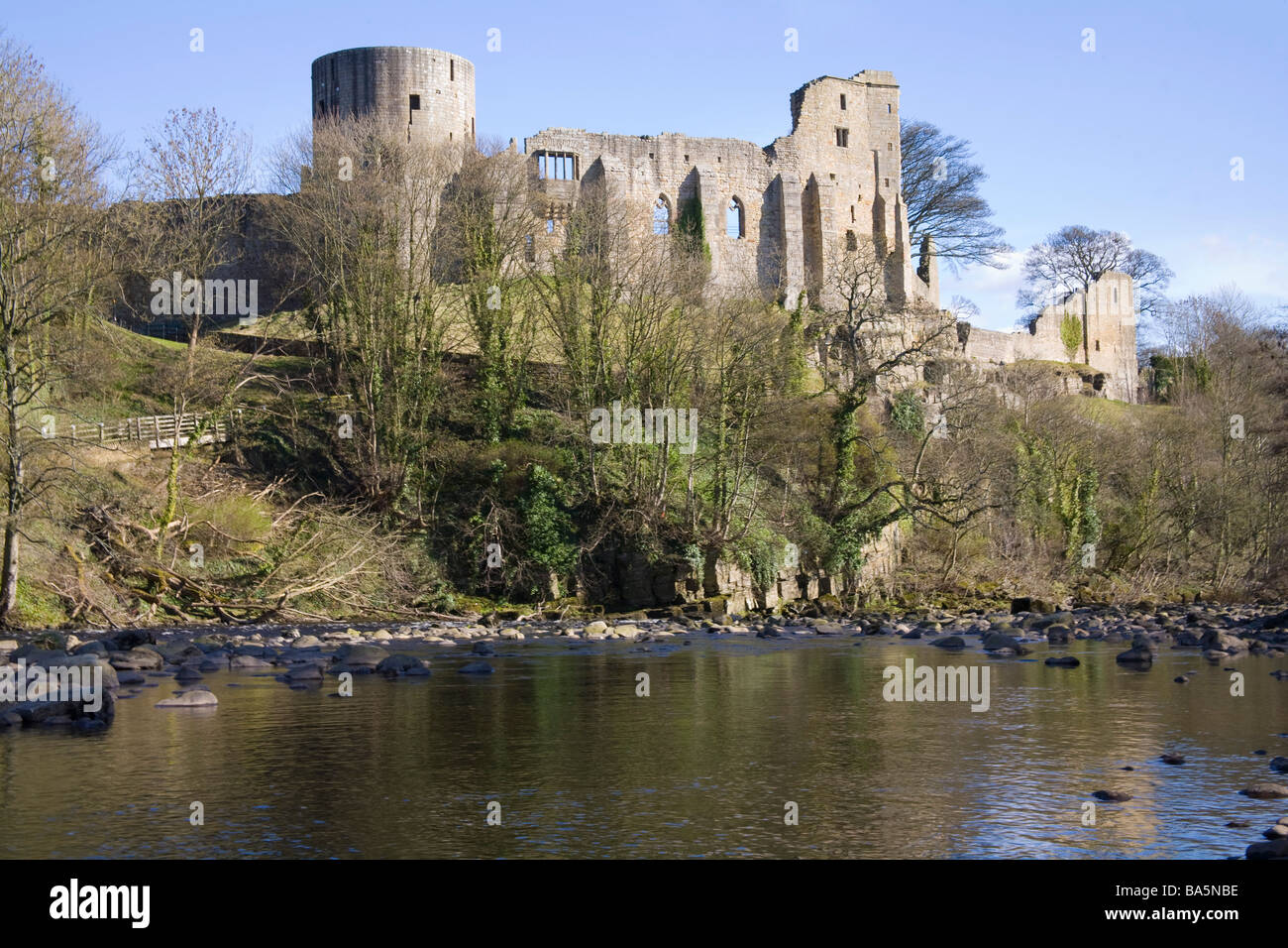 Barnard Castle County Durham England UK March View across River Tees to the ruins of the Norman Castle perched on - Stock Image
