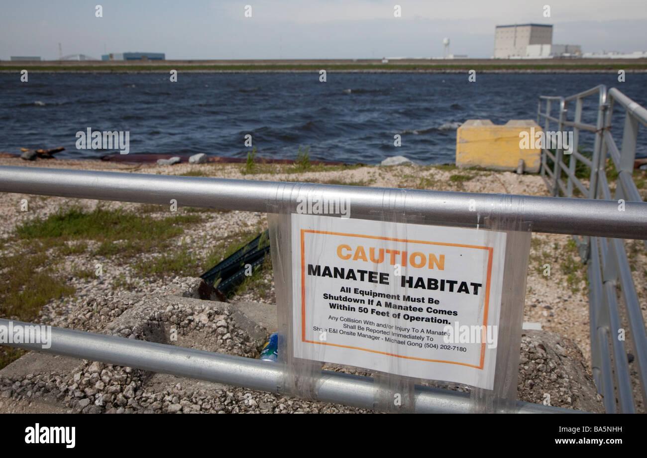 Sign Warns Against Harming Manatees - Stock Image