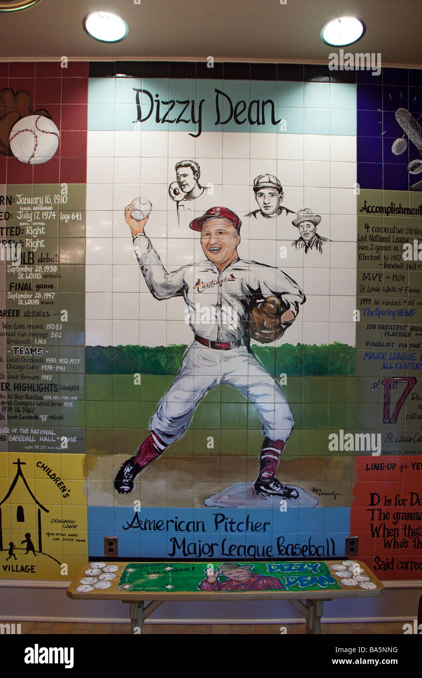 Painting Honoring Baseball Pitcher Dizzy Dean - Stock Image