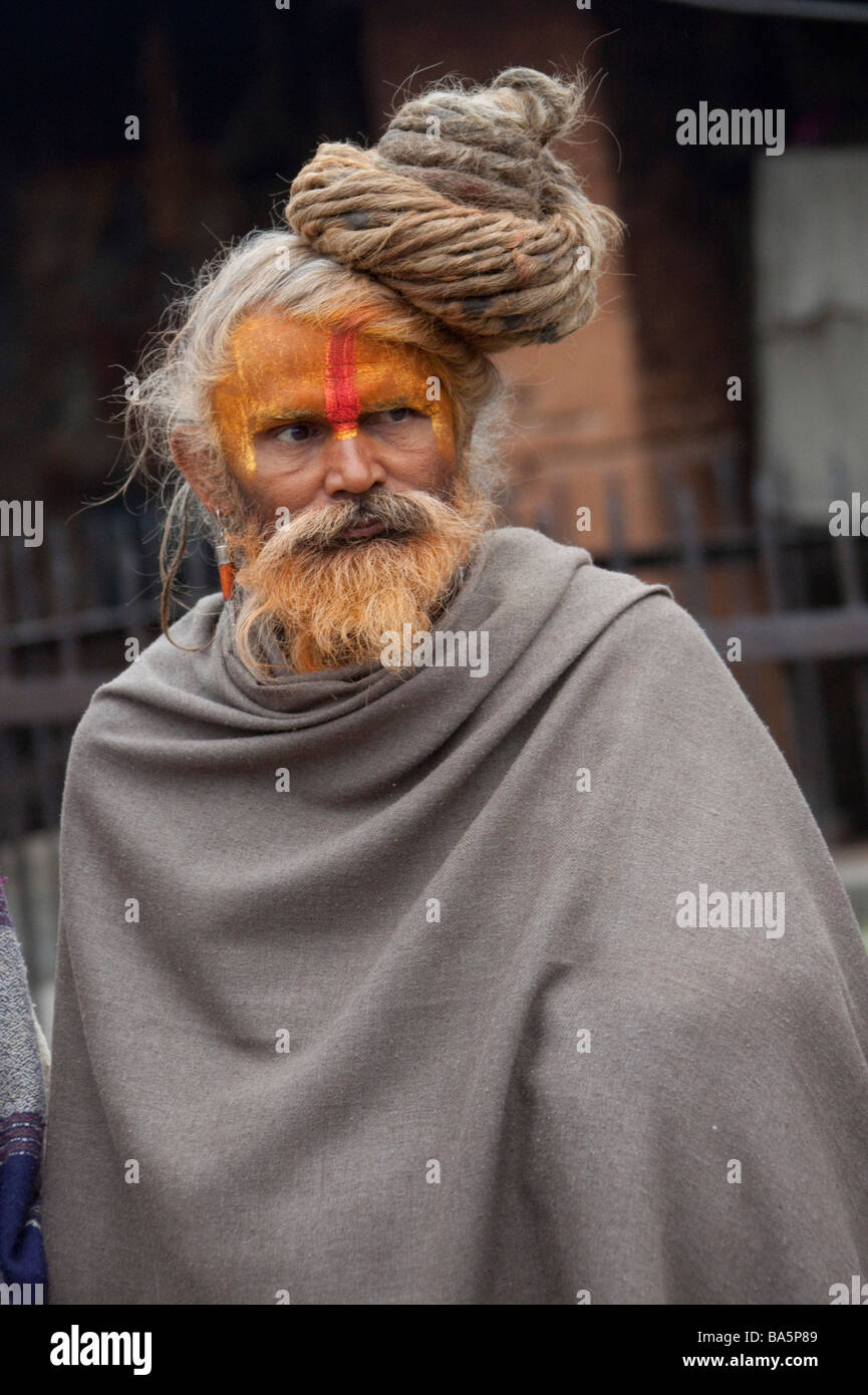 Portrait of Sadhu Hindu Holy man at Pashupatinath, Kathmandu Valley, Nepal, Asia. Vertical 90474 Nepal Stock Photo