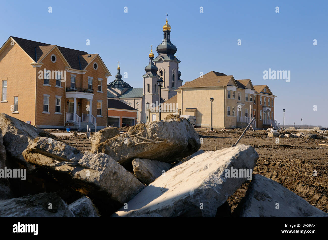 Construction of Cathedraltown housing development with Cathedral of the Transfiguration Slovak Byzantine Rite Roman - Stock Image