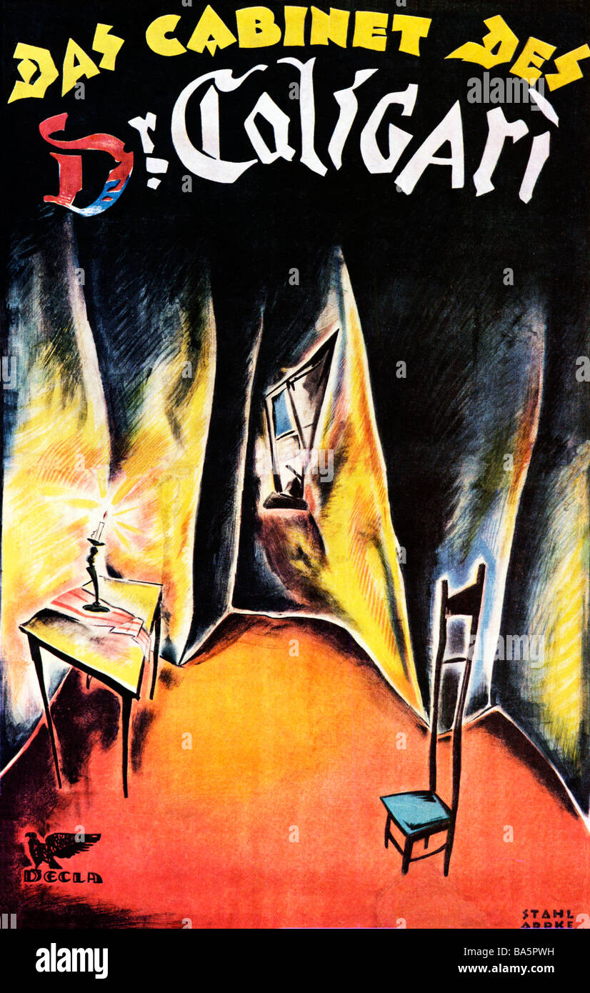 Das Cabinet des Dr Caligari 1920 Surrealist poster for the classic German movie directed by Robert Weine - Stock Image