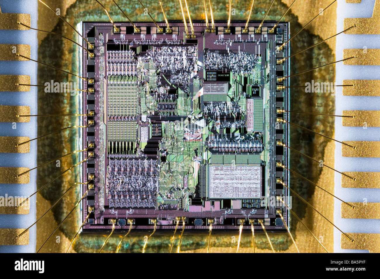 8086 microprocesor chip extreme close up revealing the fine details - Stock Image