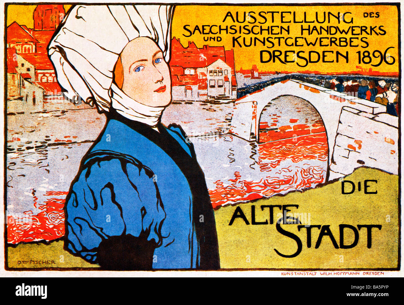 Alte Stadt Dresden 1896 poster for an exhibition of Saxon arts and crafts in the regional capital - Stock Image