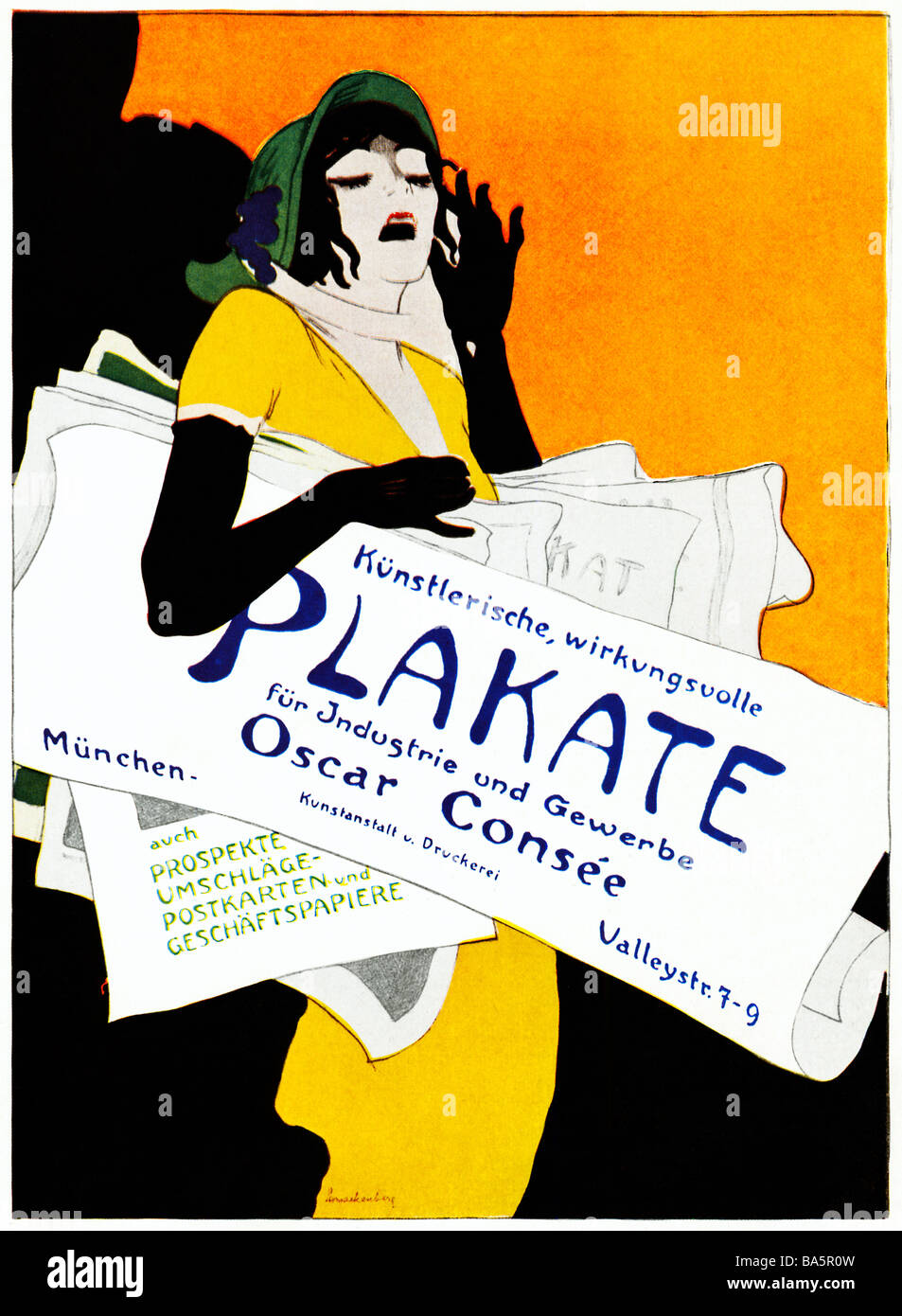 Plakate Oscar Consee 1920 Art Deco poster for the Munich printer of Artistic and Effective Posters for Industry - Stock Image