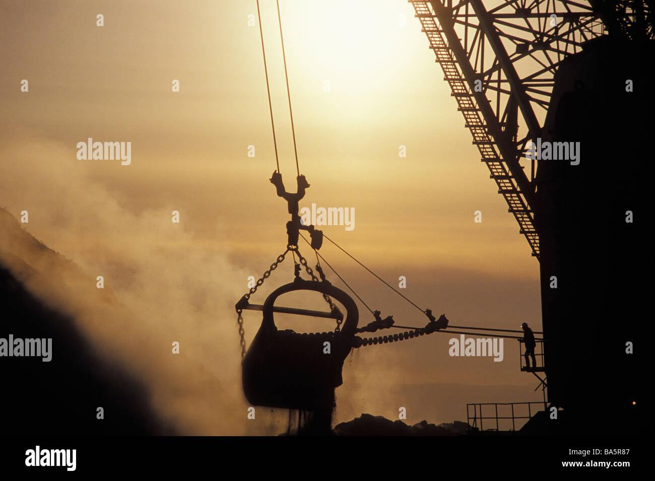 Dragline excavator at coal mine Stock Photo