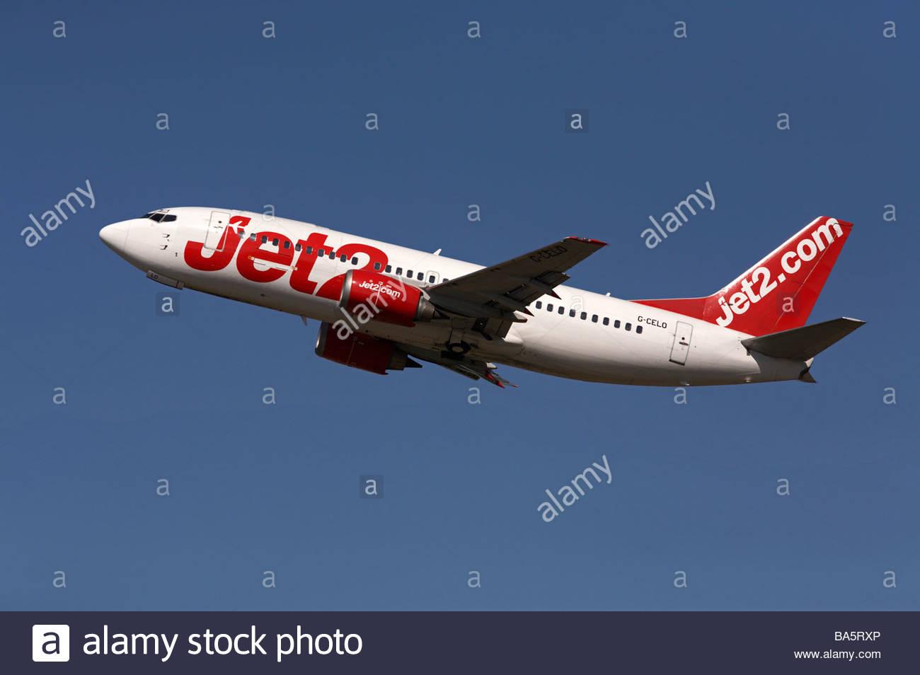 Jet2.com flight shortly after takeoff - Stock Image