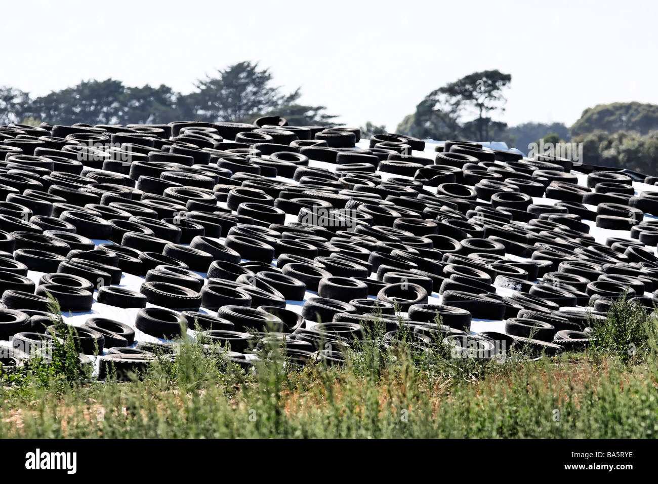 Old Rubber Car and Truck Tyres holding down Plastic Sheeting on Farmers Silo Victoria Australia - Stock Image