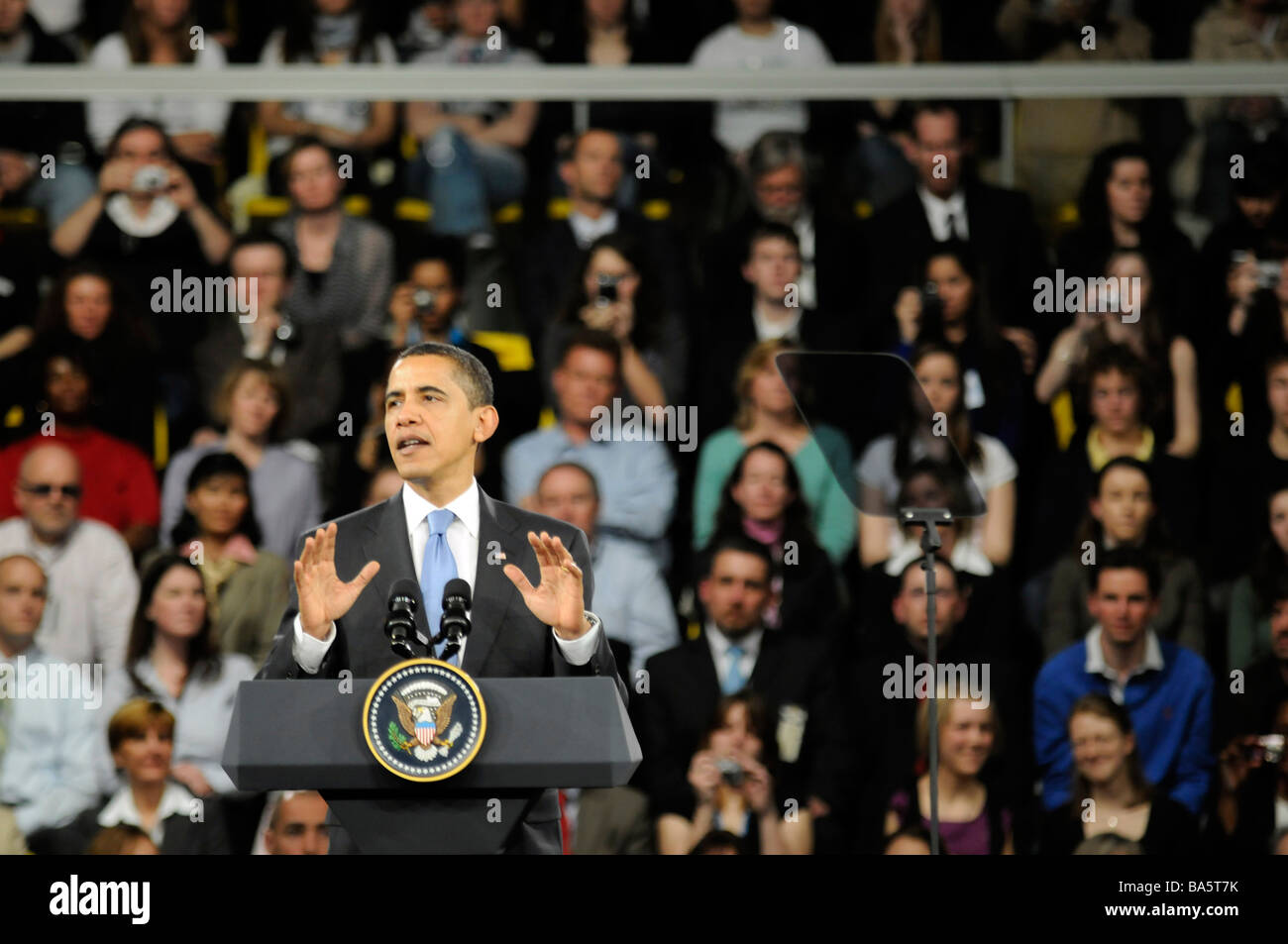 US president Barack Obama talking during a conference organised at the NATO summit in Strasbourg, France. - Stock Image