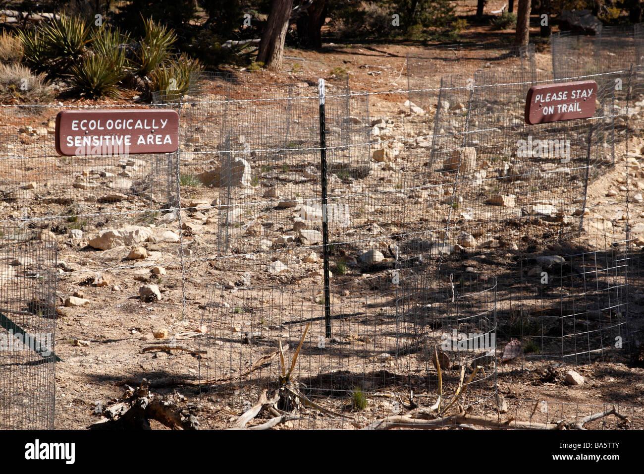 fenced off ecologically sensitive area at maricopa point grand canyon national park arizona usa - Stock Image