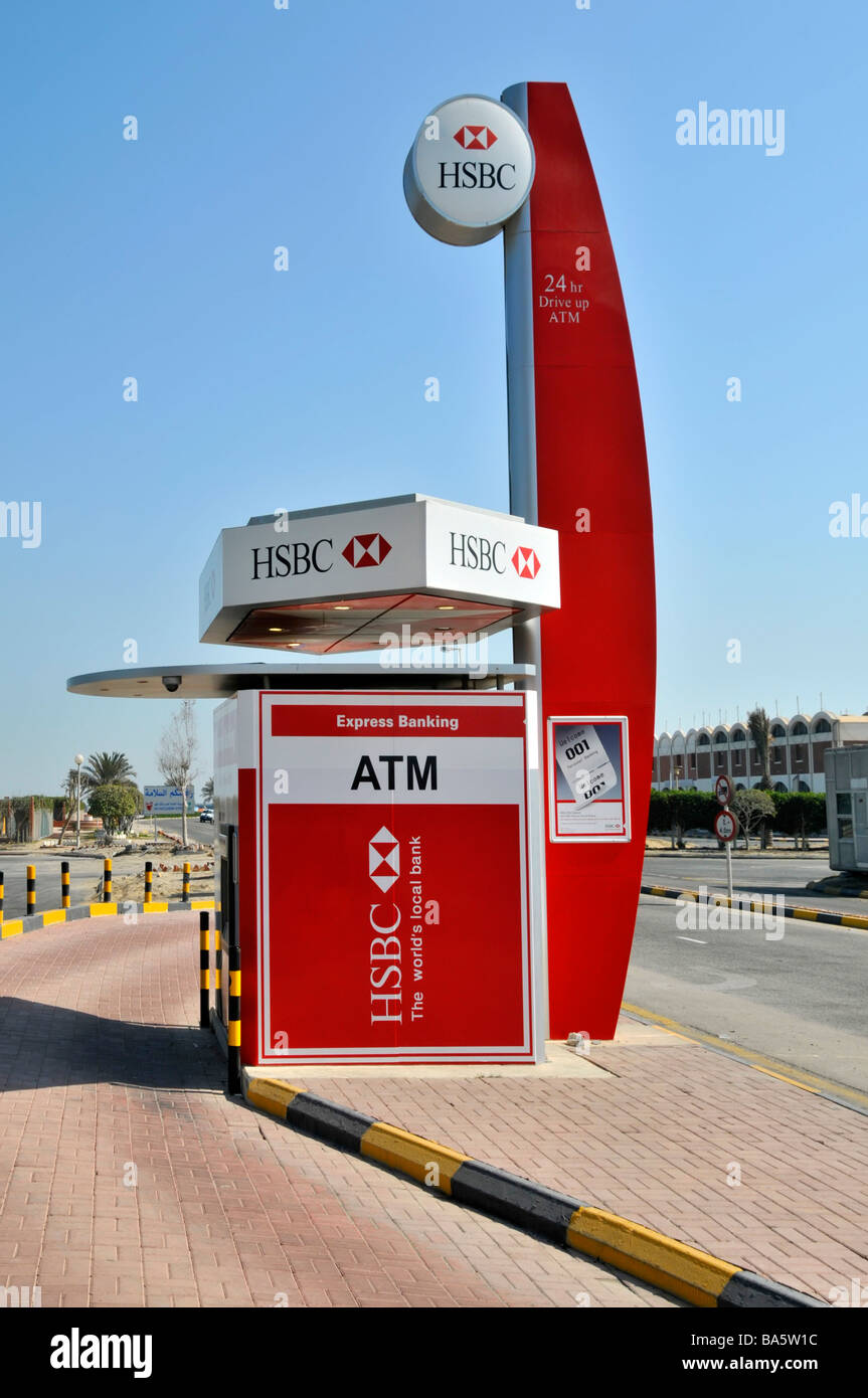"HSBC ""drive through"" ATM services facility for motorists approx midpoint on King Fahd causeway linking Bahrain to Stock Photo"