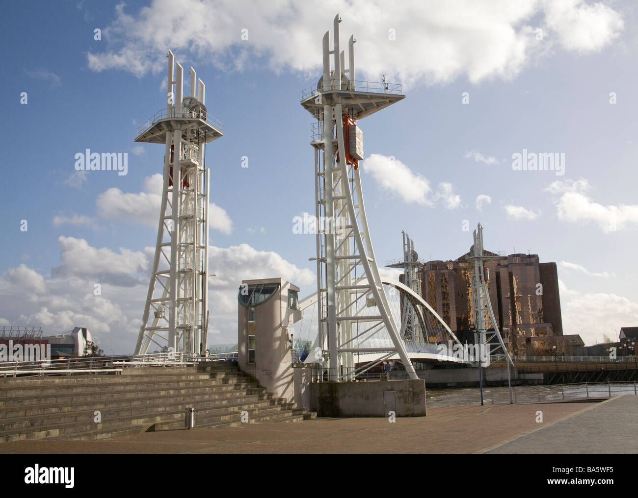Salford Quays Manchester England UK March Looking along the Lowry bridge a footbridge over the Manchester Ship Canal Stock Photo