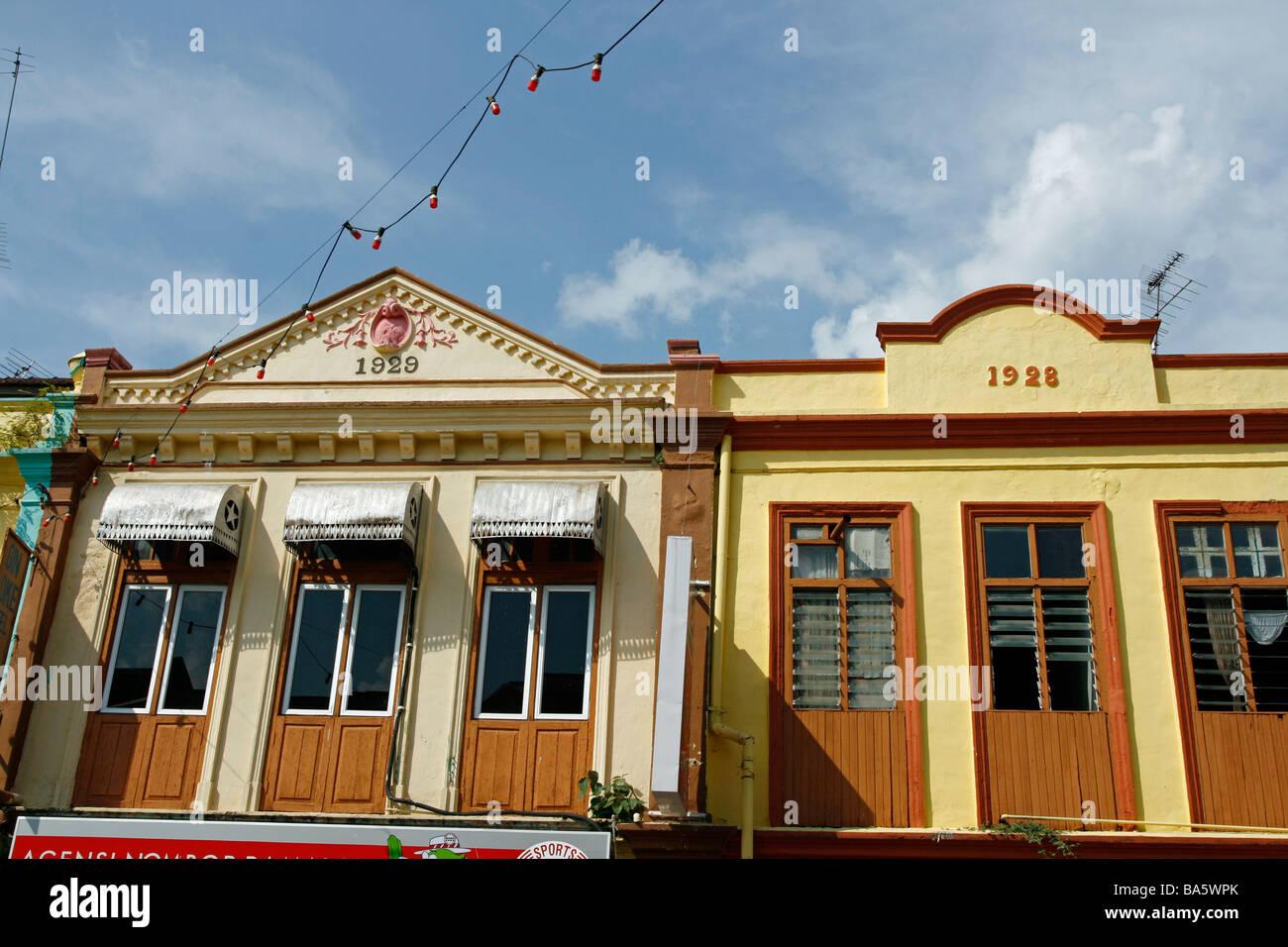 Renovated old shophouses in Kuala Lipis, Malaysia - Stock Image