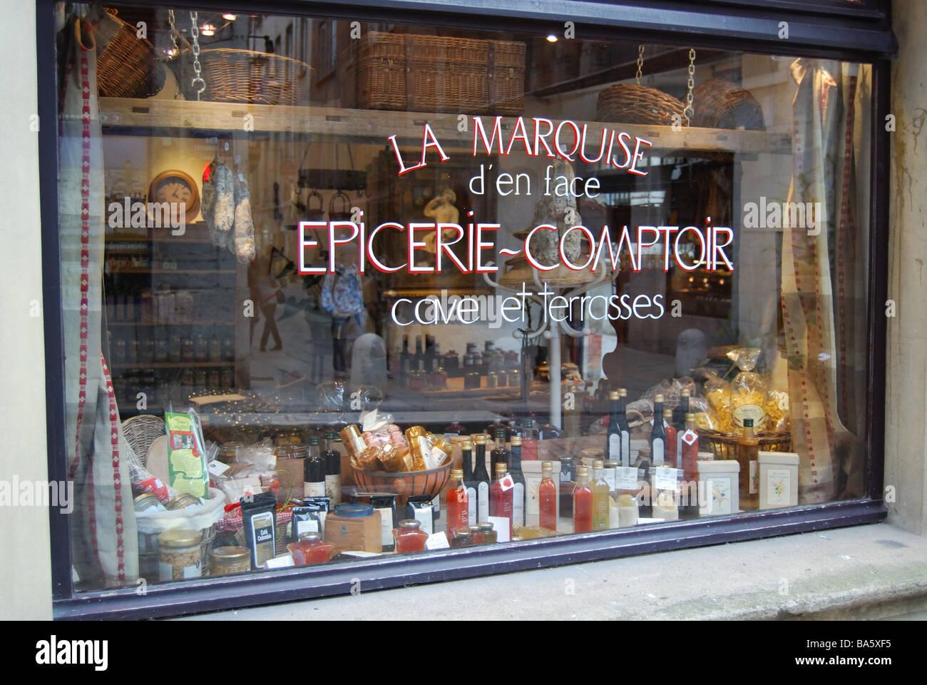 Grocer's shop Vieux Lyon, France - Stock Image