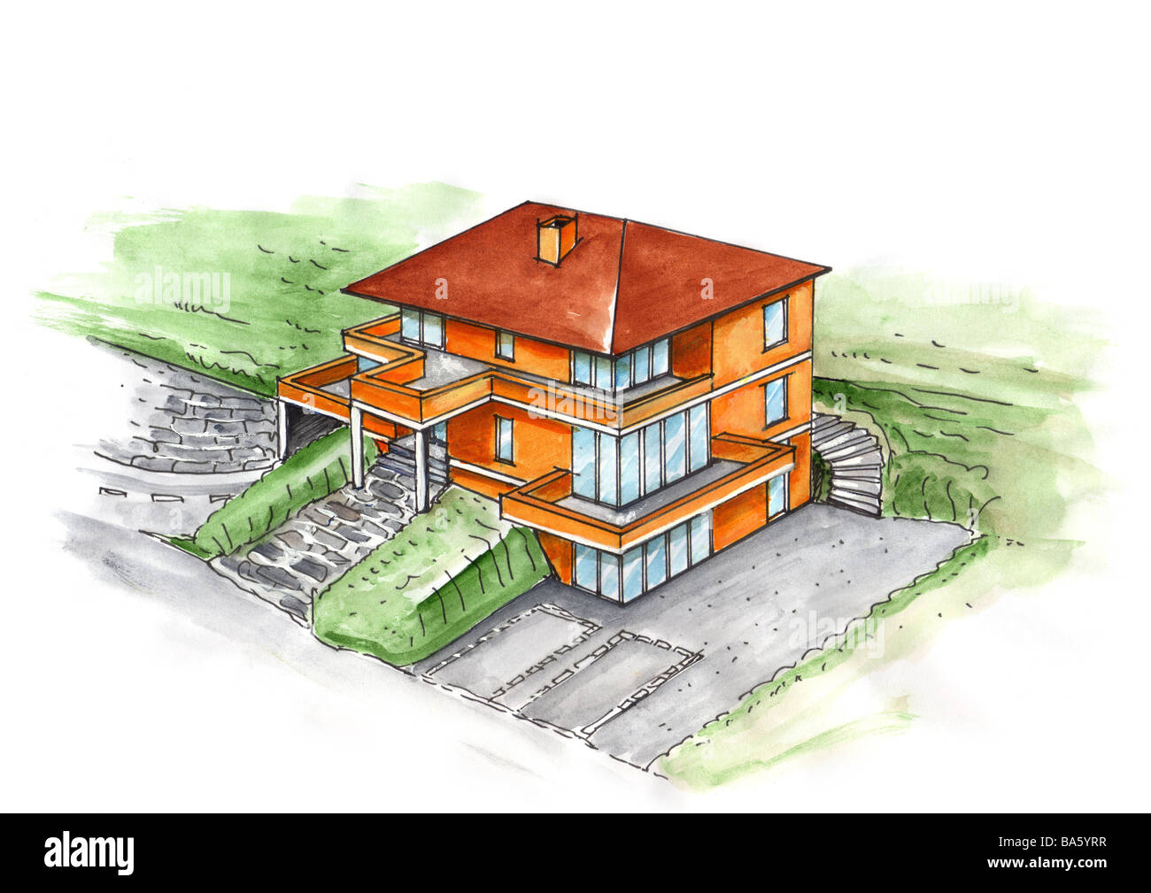 Illustration Increase Family House Watercolor Drawing Sketch House