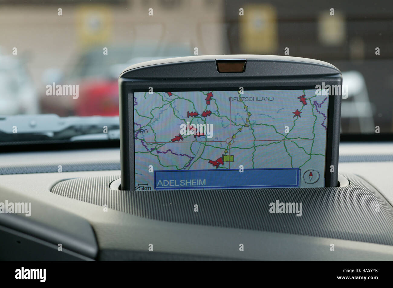 Car indoors navigation-system Display retractable map no property release vehicle mounting Autofahren navigation - Stock Image