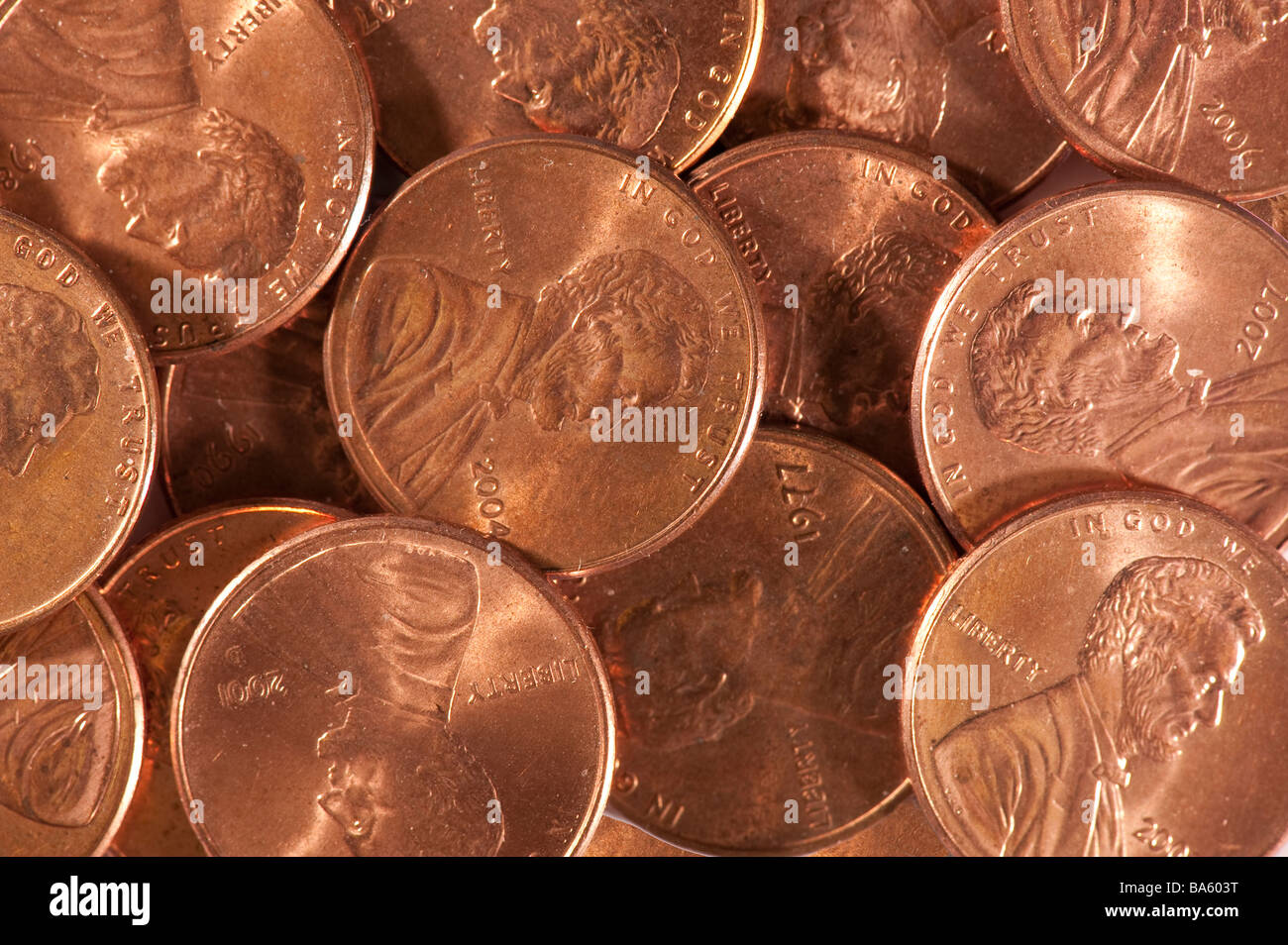 closeup pennies - Stock Image