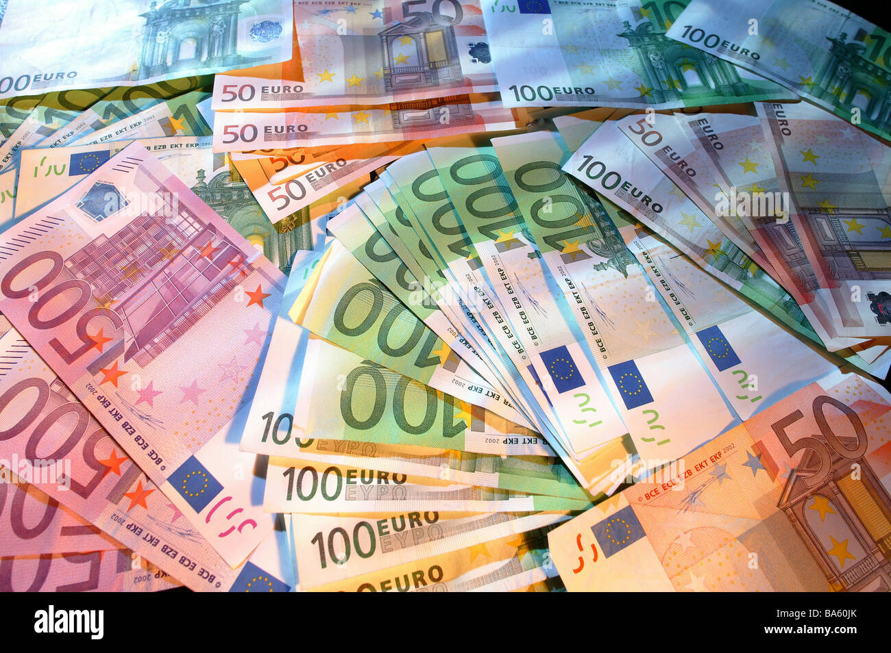 Money Bills Euro Bills Euros Currency Differently Value Many Symbol