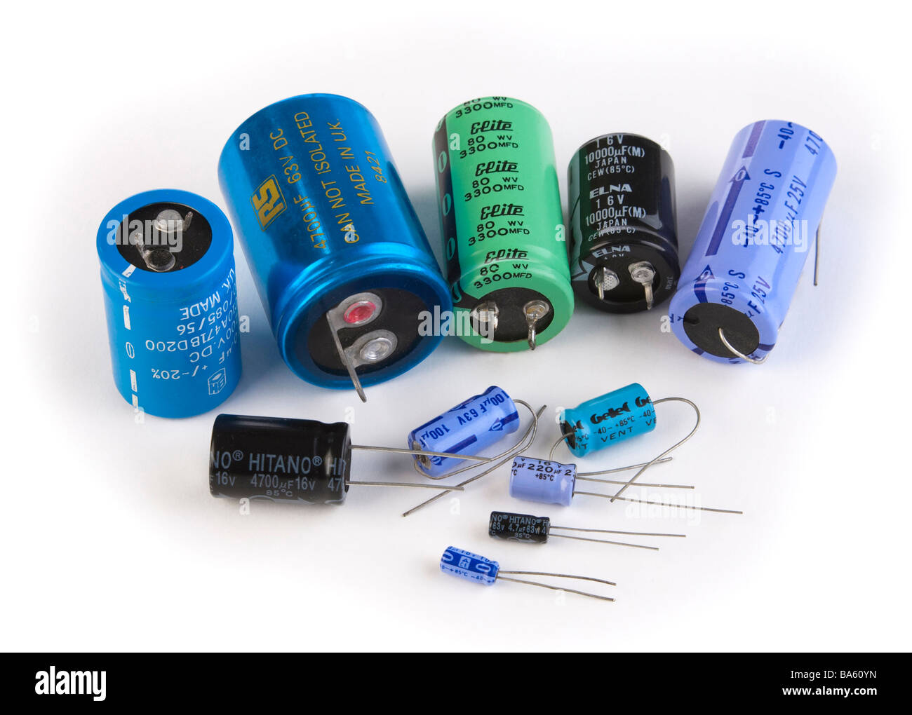 various electrolytic capacitors - Stock Image