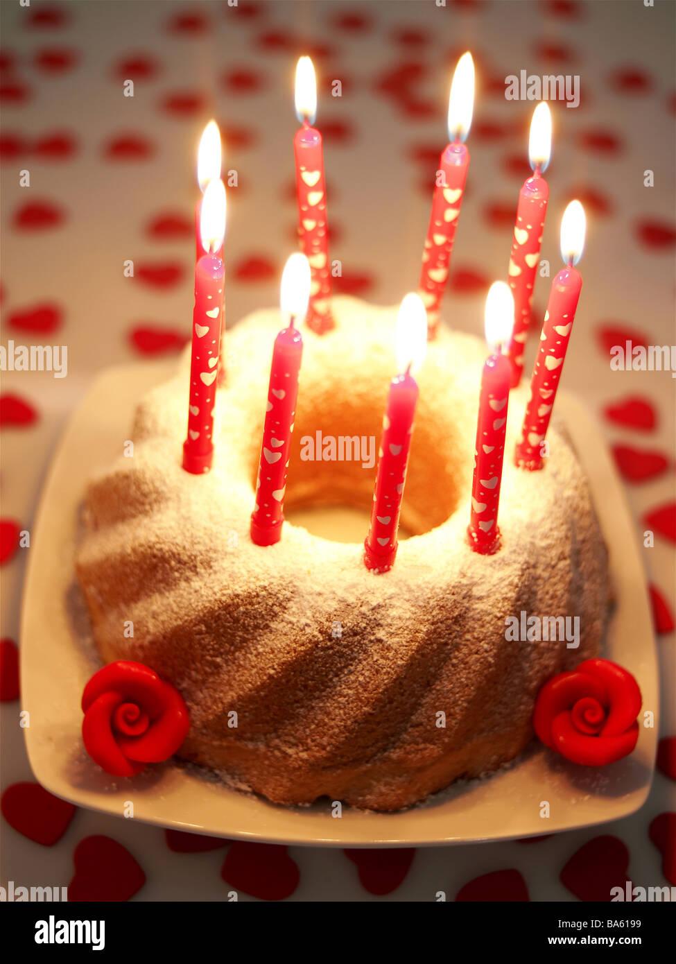 Birthday Cakes Candles Series Burn Food Stock Photos Birthday