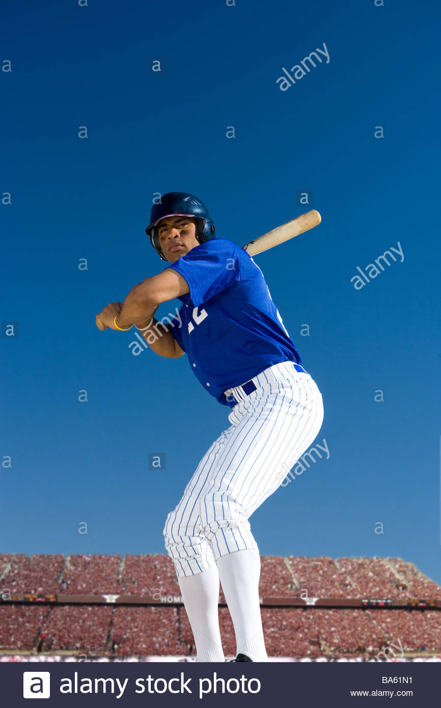 Batter poised to swing - Stock Image