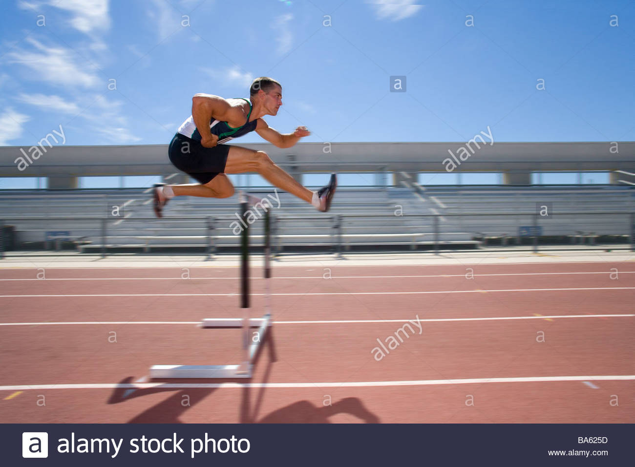 Male Athlete Jumping Over Jump Blurred Motion
