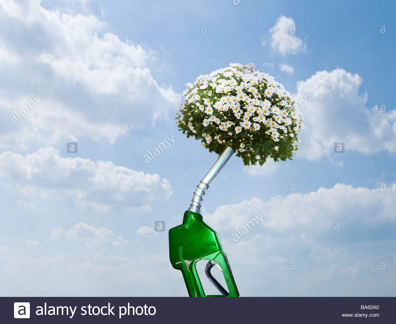 Green gas pump with blooming plant at end of nozzle - Stock Image