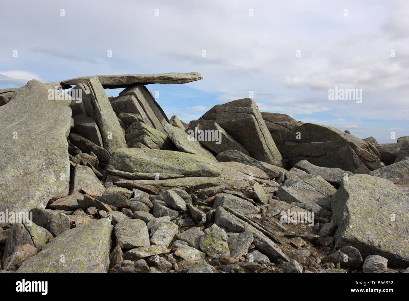 The famous Cantilever stone on the summit of Glyder Fach, a mountain in Snowdonia, North Wales - Stock Image