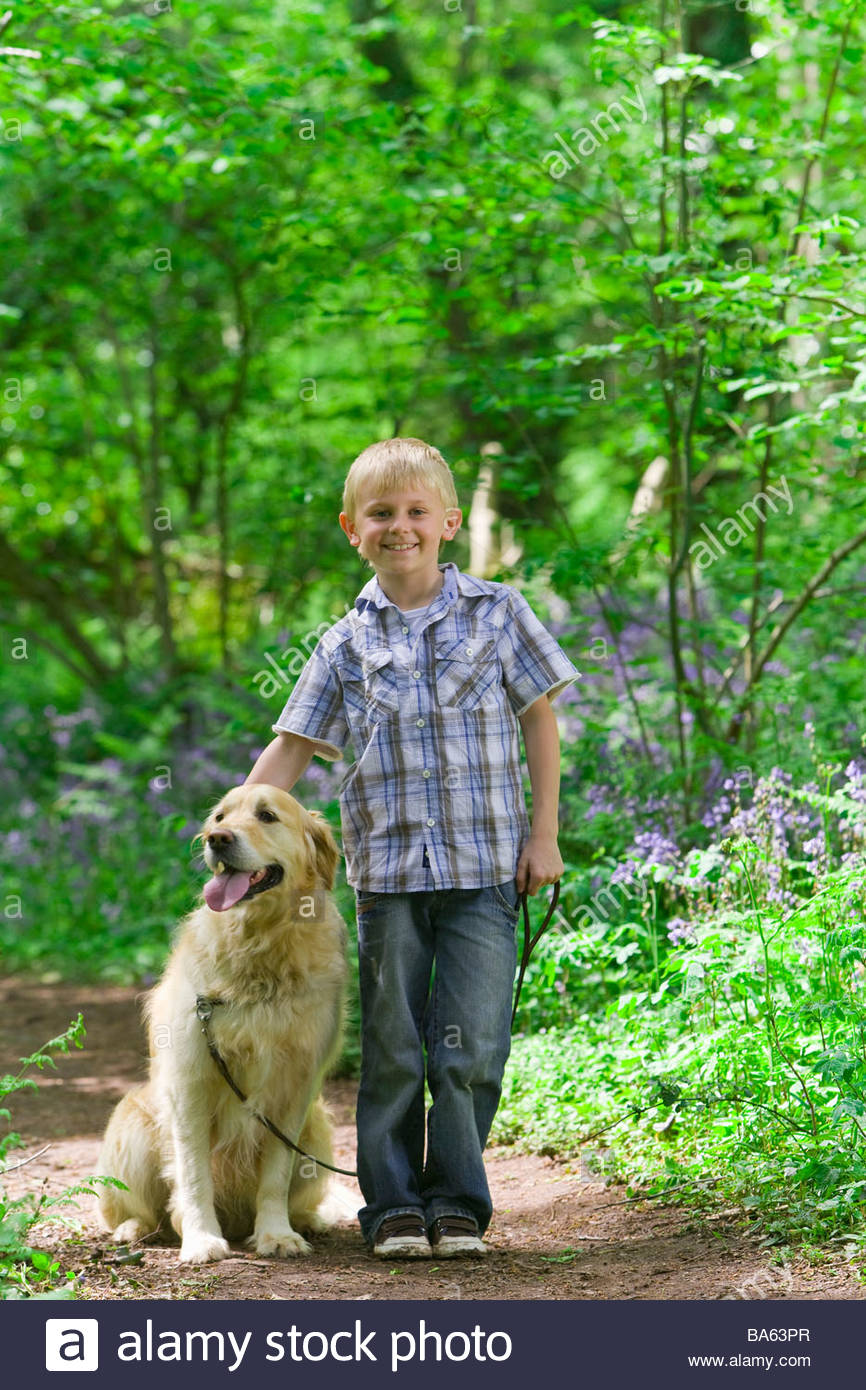 Boy and dog posing in forest among bluebell flowers - Stock Image