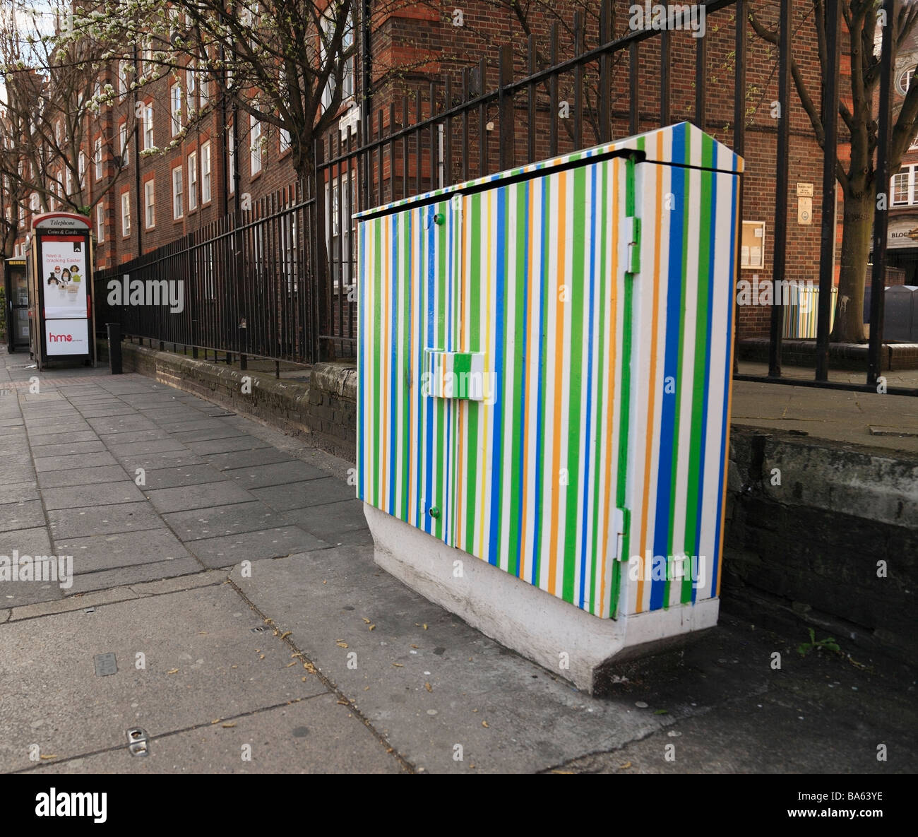 Brightly Painted street furniture. Hammersmith West London, England, UK. - Stock Image