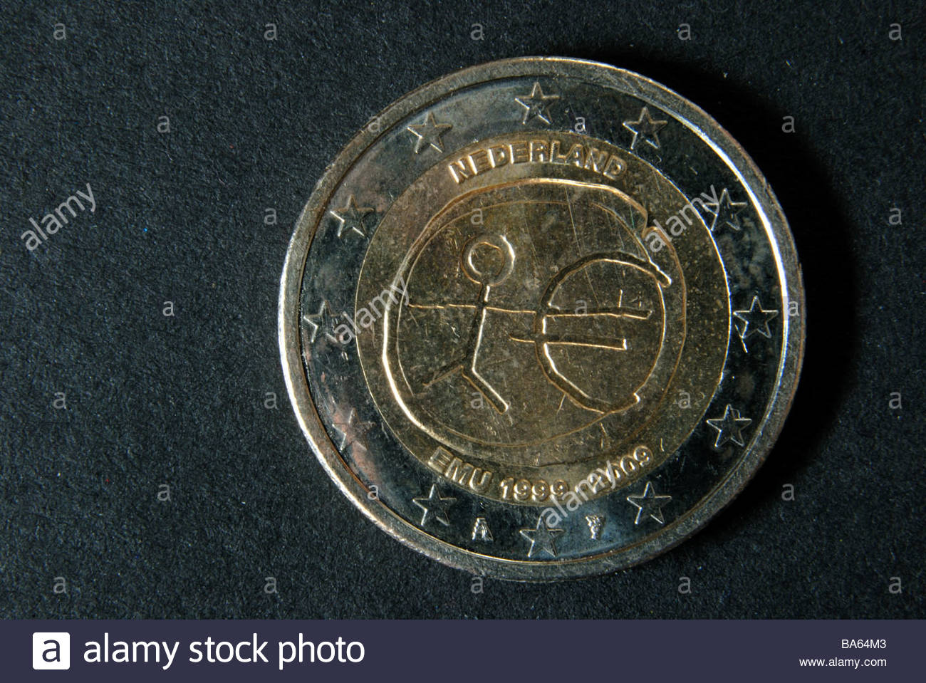 Commemorative two Euro coin, ten years EMU. - Stock Image
