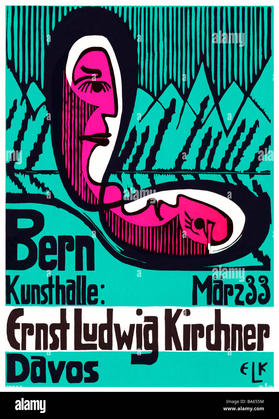 Ernst Ludwig Kirchner Bern 1933 poster for an exhibition by the German artist in his adopted country Switzerland - Stock Image