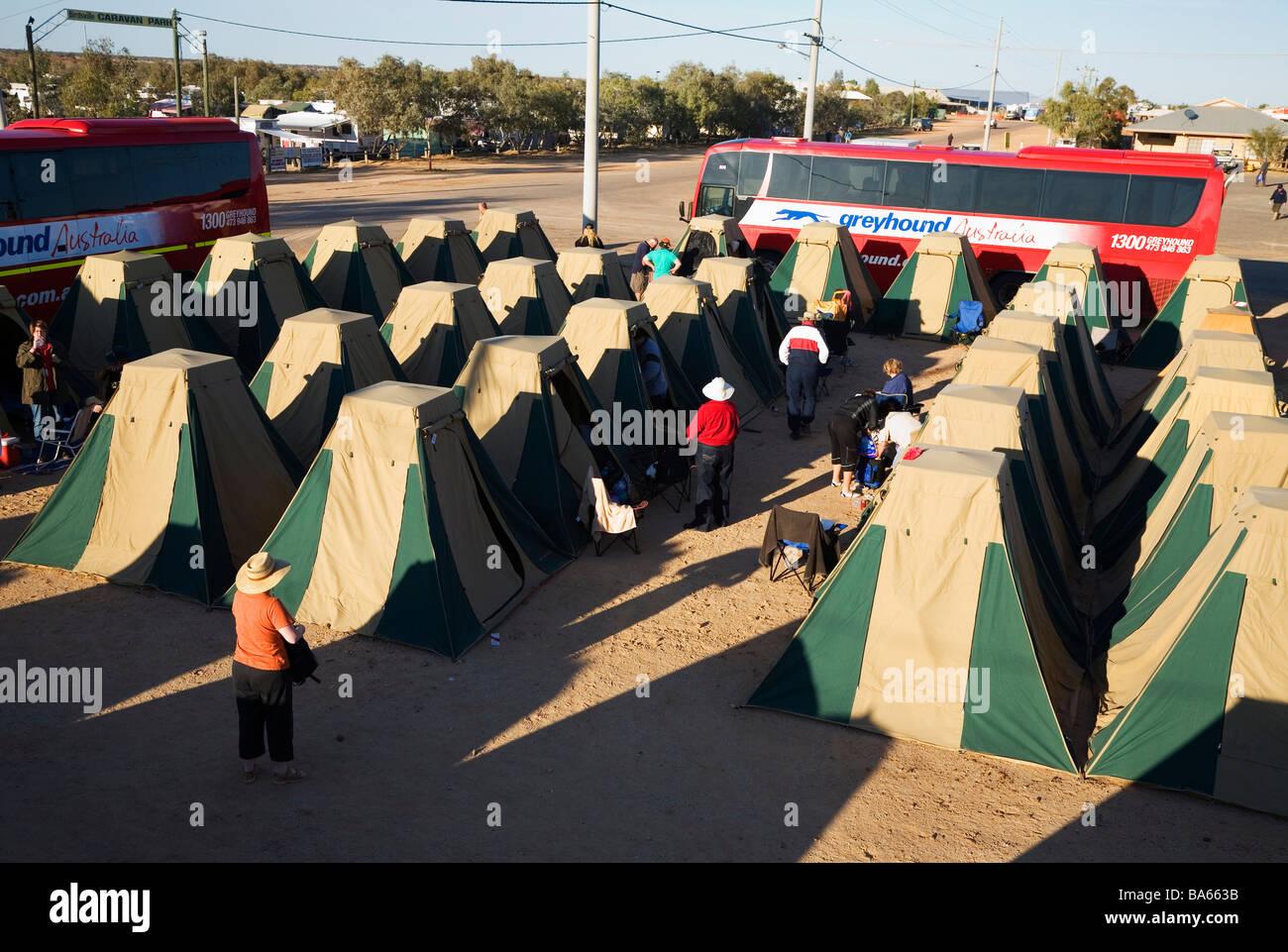 Tent city at Birdsville during the annual Birdsville Races.  Birdsville, Queensland, AUSTRALIA - Stock Image