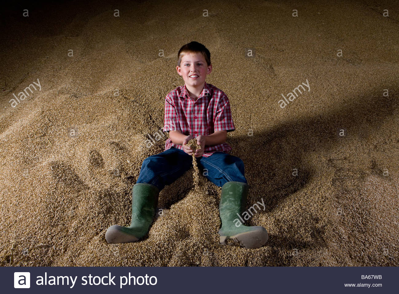 Boy sitting on mound of wheat grains - Stock Image