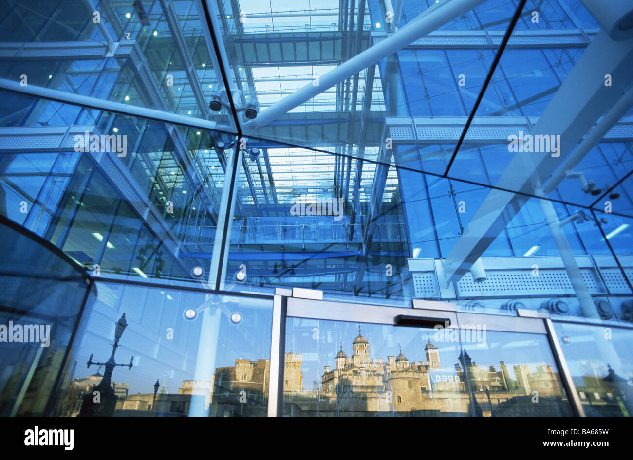 Great Britain London Tower-Bridge-House glass-facade detail reflection tower of London England capital TowerBridgeHouse - Stock Image