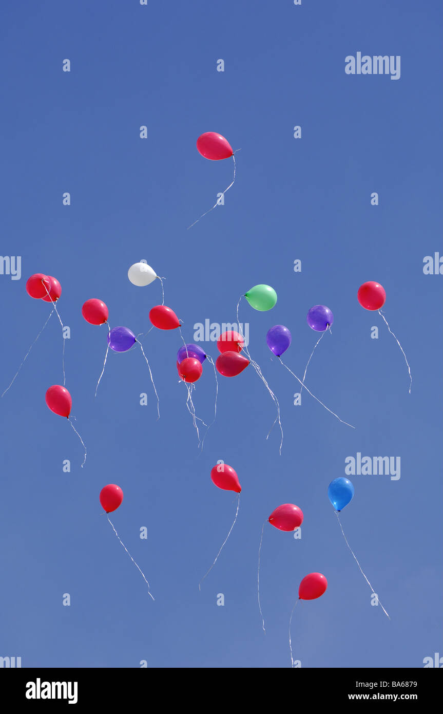 Heavens Balloons Party Fly Celebration Birthday Child Childhood Many Colorful Red Blue Together Hovers