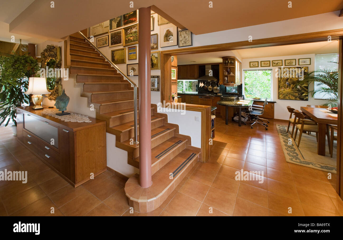 Living space openly hall kitchen dining rooms stairway-ascent series ...