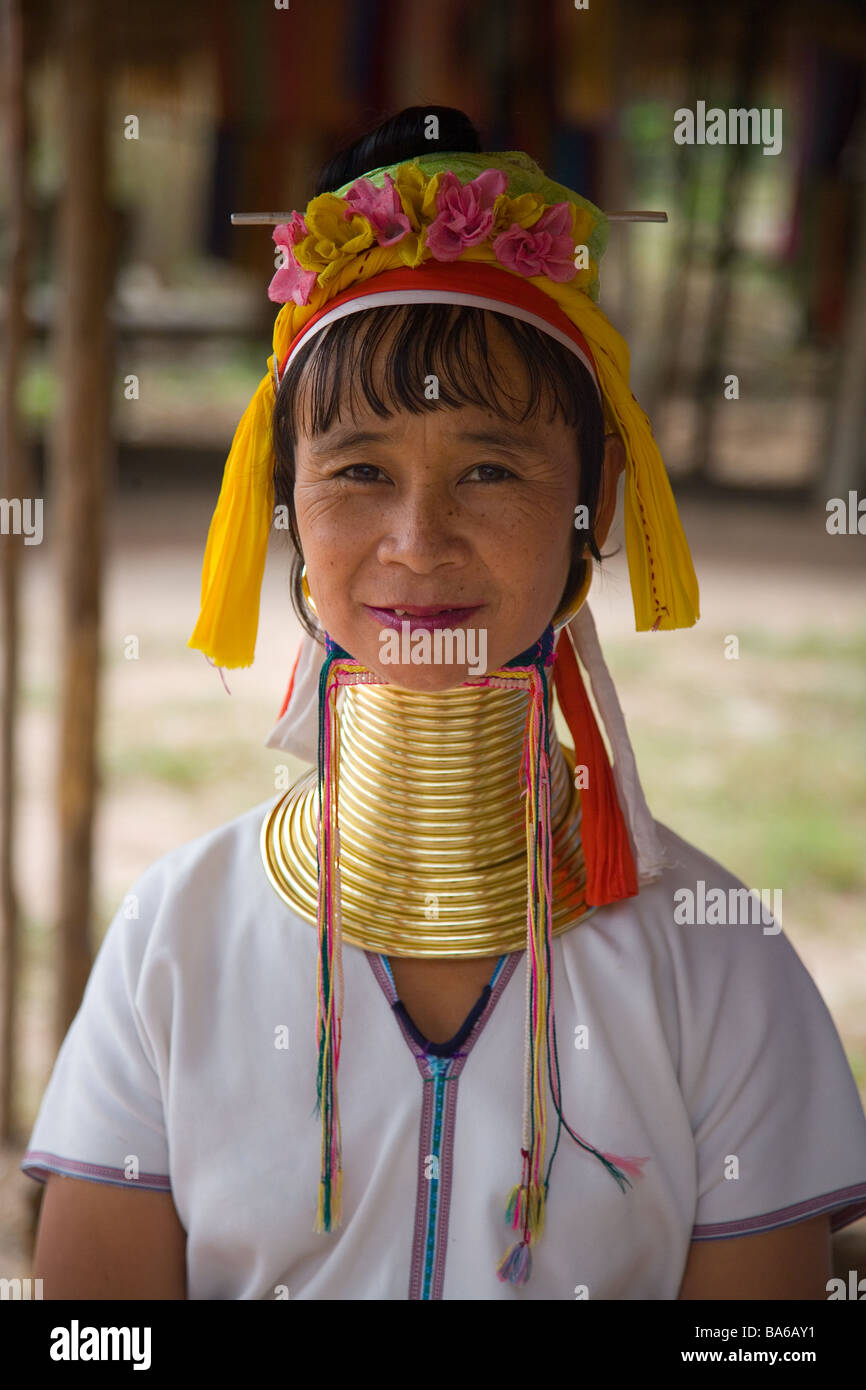 portrait of a Long necked Women in village - Stock Image