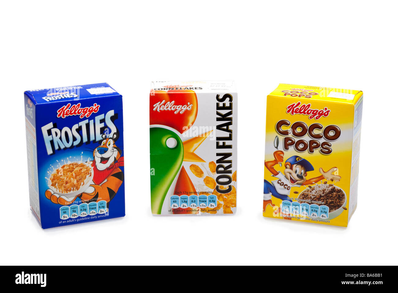 Kellogs breakfast cereal boxes on white UK was B84A92 - Stock Image
