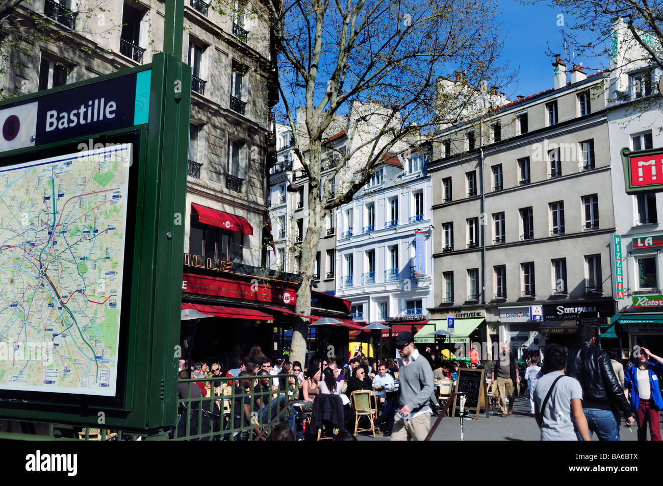 Paris France, Street Scene'  Cafe People Crowded Terrace, Parisian street café scene - Stock Image