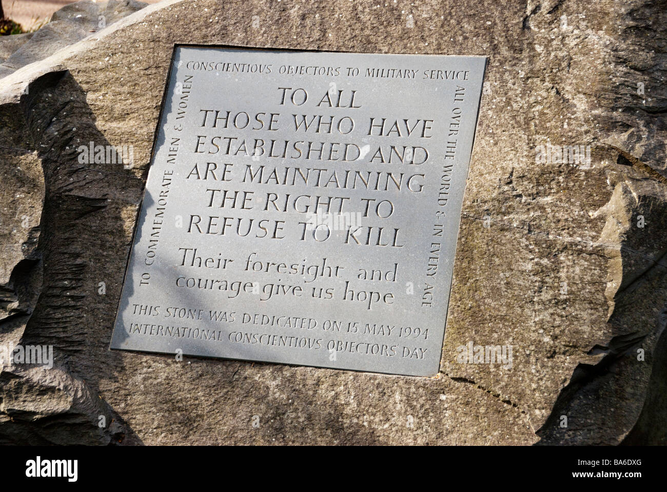 Conscientious Objector memorial plaque on stone in Tavistock Square London. - Stock Image