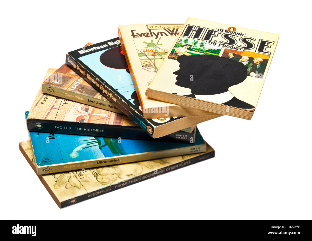 Stack of Penguin classic novels books on white - Stock Image