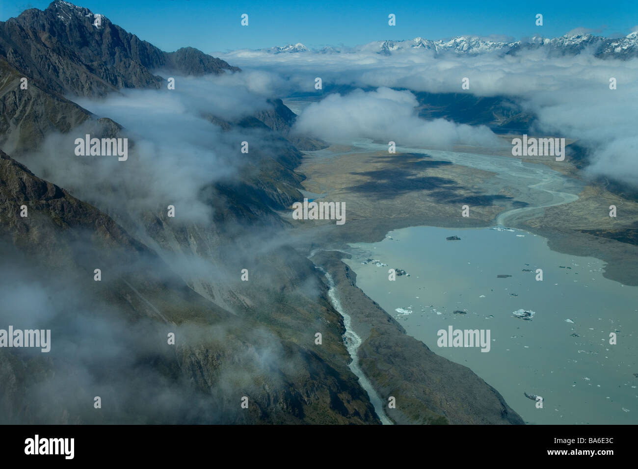 Hooker Glacier Lake Mount Cook National Park New Zealand - Stock Image