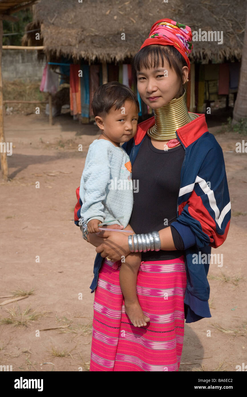 Long necked Women and Infant  from the Karen Tribe Thailand - Stock Image